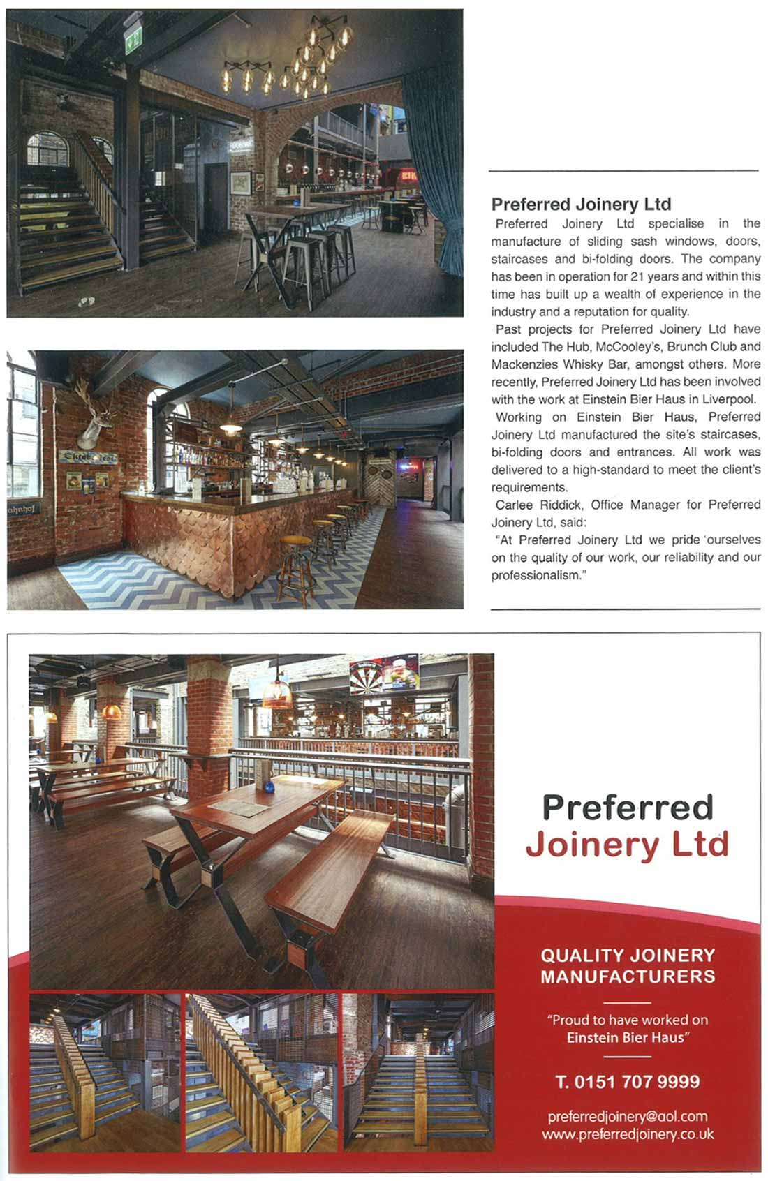 News article about Preferred Joinery LTD